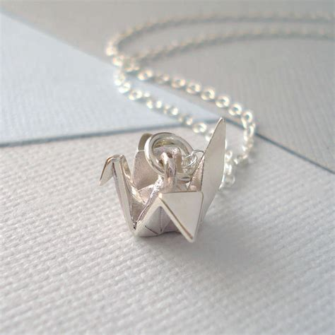 Origami Necklace - sterling silver origami crane necklace by