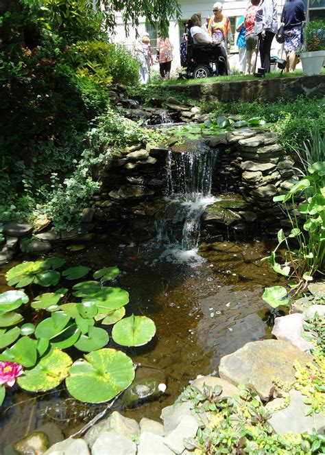 file waterfall and pond at a garden jpg
