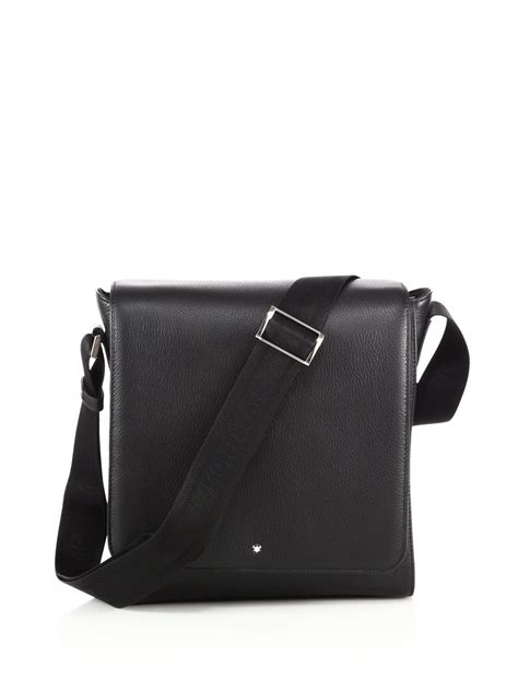Bag Mont Blanc 3264a montblanc leather south bag in black for lyst