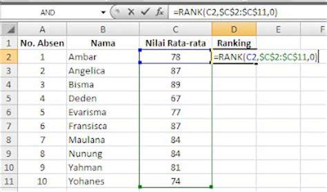 membuat artikel otomatis membuat ranking secara otomatis pada microsoft excel