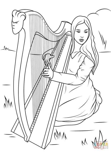 irish girl coloring page girl playing celtic harp coloring page free printable