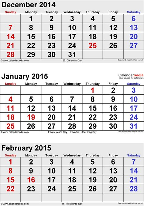 Calendar 2015 January February March February 2015 Calendars For Word Excel Pdf
