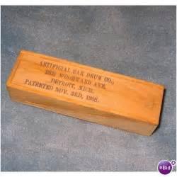 e bid artificial ear drum co wooden box patent 1908 detroit on