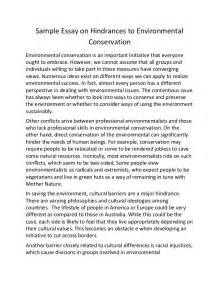 Environment Essay by Sle Essay On Hindrances To Environmental Conservation