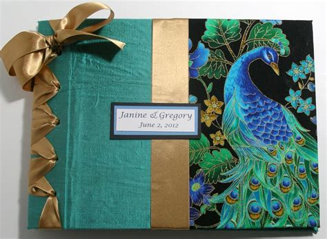 Handmade Wedding Album - custom handmade wedding guestbook album peacock design