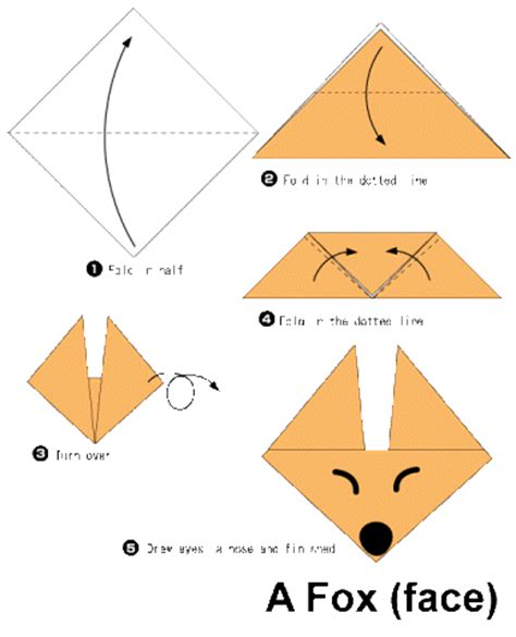 Easy Origami Fox - origami for step by step indesign arts and crafts