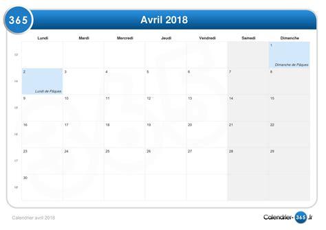 Vacances Avril 2018 Calendrier Avril 2018