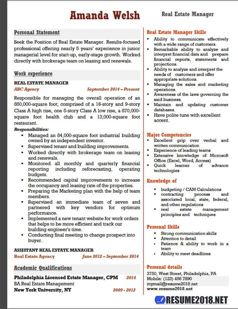 Real Estate Resume Templates by Real Estate Manager Resume Exles 2018 Resume 2018