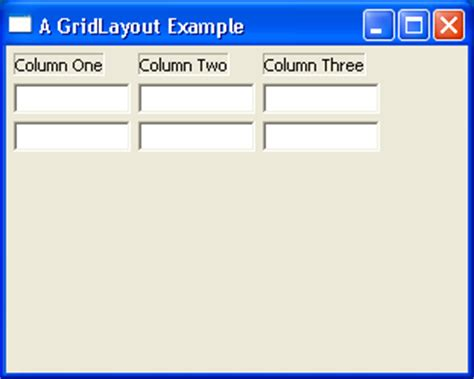 grid layout exles java techtrony gridlayout exle 2