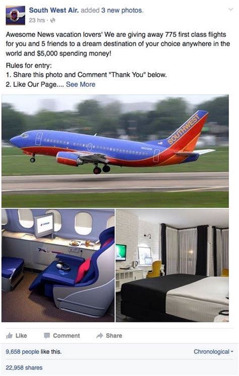 Southwest Giveaway On Facebook - southwest airlines flight giveaway scams spread on facebook webroot community