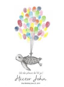 sea turtle being lifted by balloons fingerprint guest book