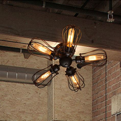 Edison Wall Sconce Fancy 5 Light Wrought Iron Industrial Ceiling Lights