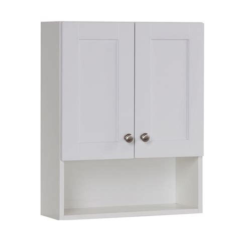 over the toilet wall cabinet white glacier bay del mar 20 1 2 in w x 25 3 5 in h x 7 1 2 in