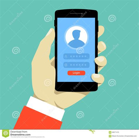 mobile login page m a login page on smartphone screen hold smartphone