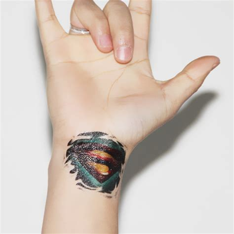 Temporary tattoo stickers body arm wrist colorful super man fake art painting transfer makeup