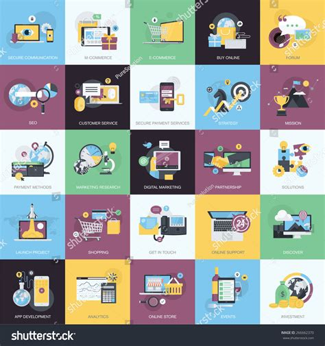 flat design style concept icons on stock vector 266662370