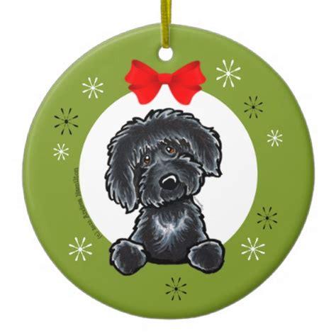black labradoodle christmas classic ceramic ornament zazzle