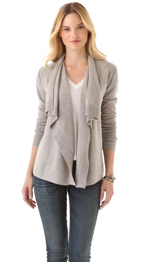 cashmere drape cardigan lyst inhabit cashmere draped cardigan in natural