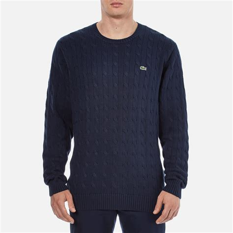cable knit mens sweater lacoste s cable knitted sweater navy free uk