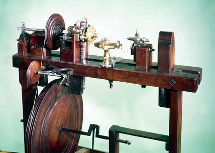 """Wood turner's foot lathe, 17th or early 18th century."" at"
