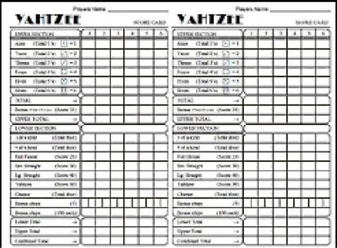 printable yahtzee score card best photos of triple yahtzee score sheets printable