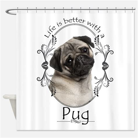 pug shower curtain pug shower curtains pug fabric shower curtain liner
