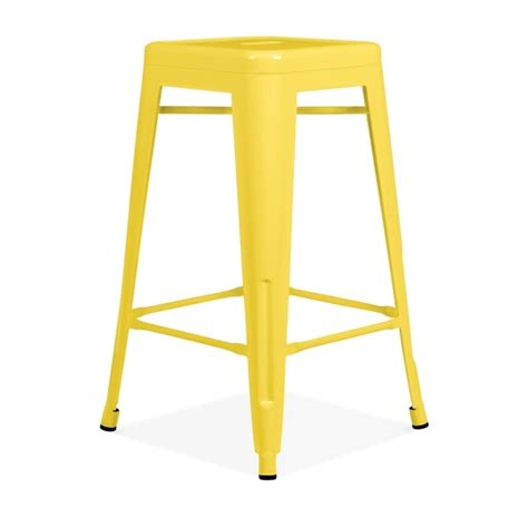 yellow powder coated 65cm style stool cult furniture