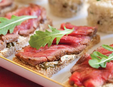 beef canapes recipes beef fillet canap 233 s with caper butter