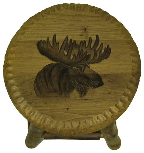 Rustic Handcrafted Wooden Carved Moose Bar Stool, 24
