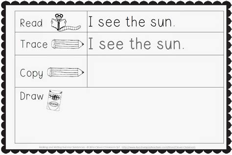 Kindergarten Sentence Writing Worksheets by Sliding Into Summer With A Freebie Clever Classroom