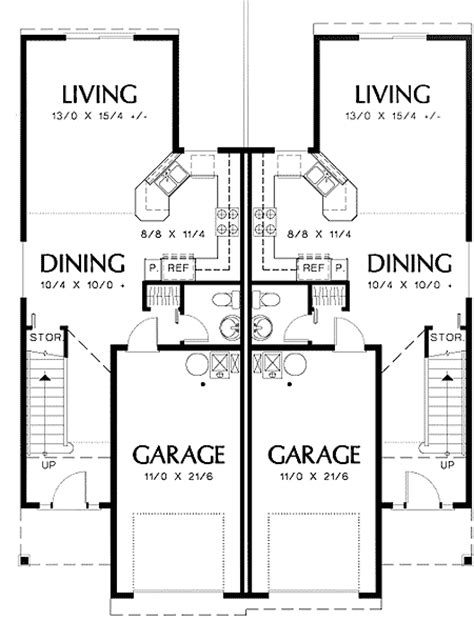 Curb Appeal In Traditional Duplex Plan 69377am Narrow Duplex House Plans For Narrow Blocks