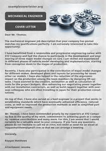 mechanical engineer cover letter exle exle cover