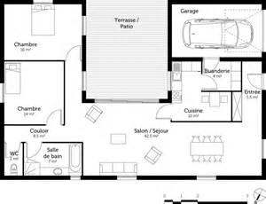 Construction D Un Garage plan maison en u avec 2 chambres ooreka