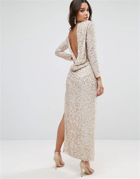 Sweety Silver Xxl36 36 asos all sequin cowl back maxi dress silver octer 163 70 00