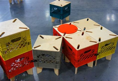 milk crates coffee tables and the wall on