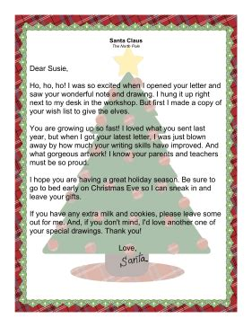 letter from santa claus acknowledging receipt of letter