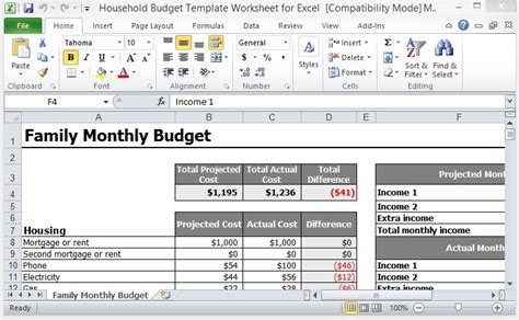 Household Budget Template Worksheet For Excel Excel Expense Budget Template