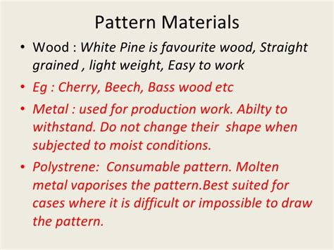 pattern materials used in casting metal casting process