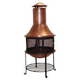 copper wood burning chiminea with a spark guard screen