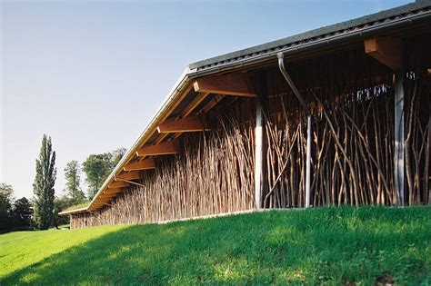 barn architecture beautiful cow barn in basel is made of tree branches