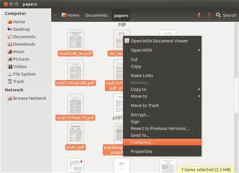 compress pdf ubuntu gui comment cr 233 er un fichier zip crypt 233 sur linux