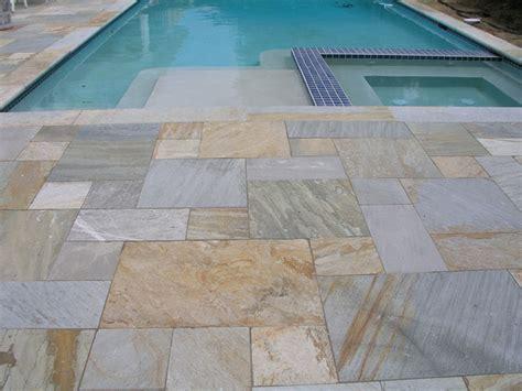 quartzite pattern tile patio transitional patio