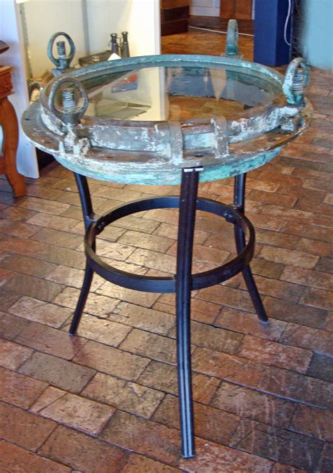 nautical couch bronze porthole occasional table nautical furniture