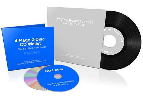 7 Inch Vinyl Template 7 inch vinyl record and cd wallet bundle mock up cover actions premium