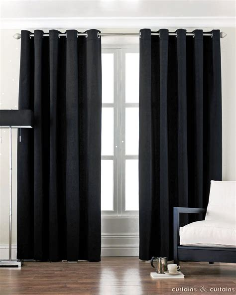 curtains black black cotton canvas eyelet lined curtain curtains and
