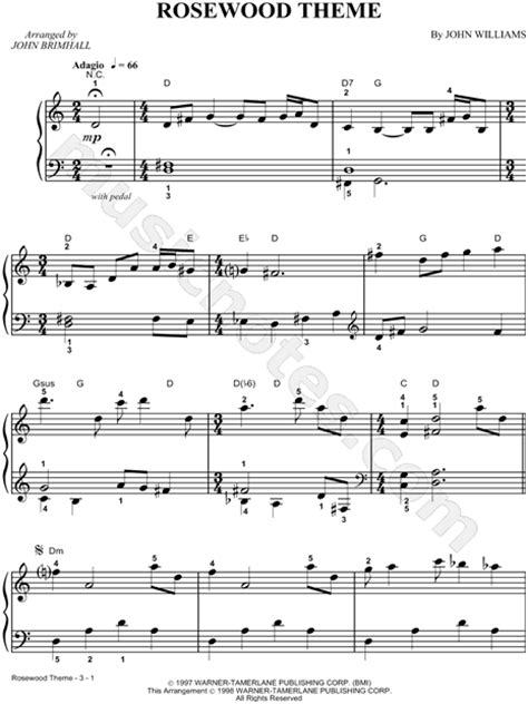 theme songs by john williams john williams quot rosewood theme quot sheet music piano solo in
