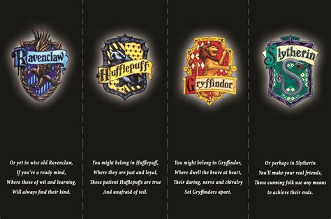 harry potter house harry potter bookmarks the four houses of hogwarts from