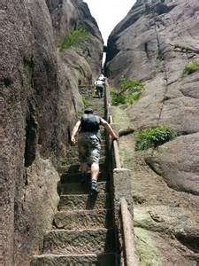 Amazing steps on china s huangshan mountain