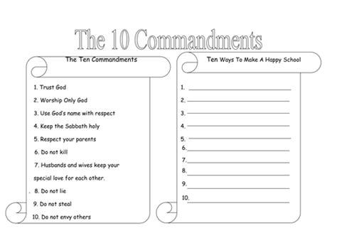 10 commandments by rhian18 teaching resources tes