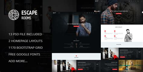 Escape Room Psd Template By Skrylnik Themeforest Escape Room Website Template